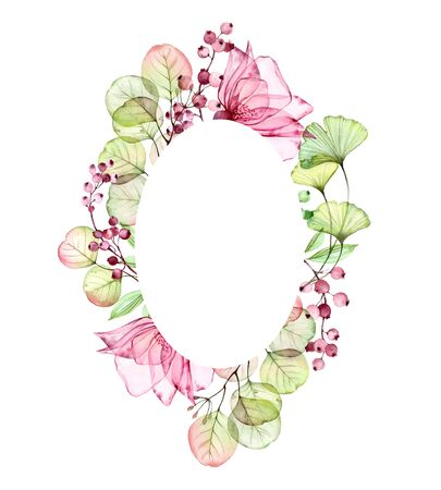 Watercolor Transparent Rose vertical oval frame of flowers, leaves, berries and eucalyptus branches. Hand painted floral vintage illustration for text and wedding stationery design