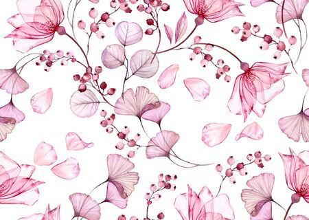 Transparent rose watercolor seamless pattern. Hand drawn floral illustration with falling petals for wedding design, surface, textile, wallpaper 写真素材