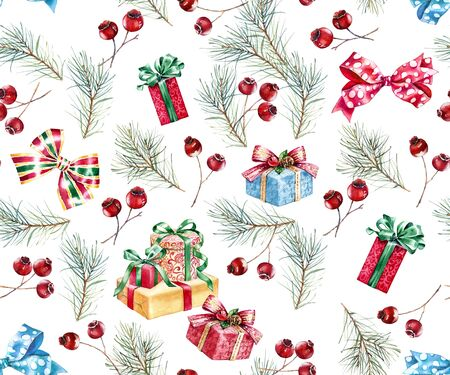 Christmas watercolor seamless pattern. Hand painted illustration with pine tree, red berries, bows and presents. Winter holiday background isolated on white for greeting card and wrapping paper 写真素材