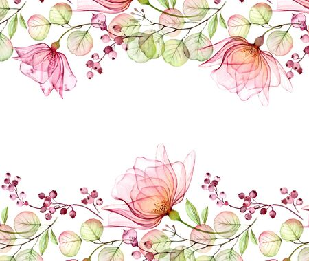 Transparent watercolor rose. Horizontal floral border. Isolated hand drawn arrangement with big flowers and berries for wedding design, stationery card print