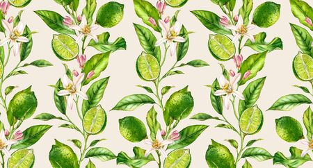 Lime branch seamless watercolor pattern. Fruit tree with flowers realistic botanical floral surface design on cream beige background hand drawn for textile wallpaper