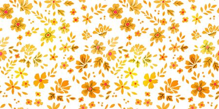 Watercolor autumn seamless pattern with fallen leaves and flowers isolated on white background. Botanic composition for greeting cards, wedding invitations, floral poster and decorations.