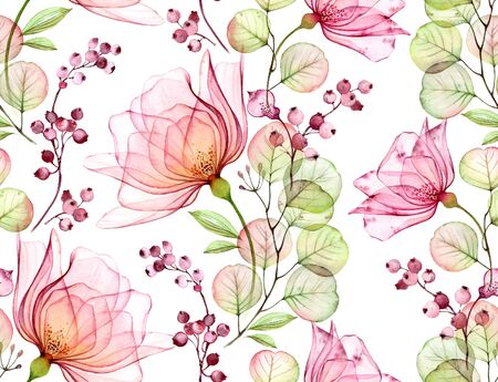 Transparent watercolor rose. Seamless floral pattern. Isolated hand drawn with big flowers, eucalyptus and berries for wallpaper design, textile, fabric 写真素材