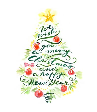 Merry Christmas holiday banner with pine tree, toys and calligraphy lettering. Watercolor hand painted New Year poster background. Design elements for invitation, flyer, greeting card. 写真素材