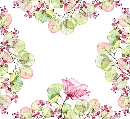 Watercolor Transparent floral frame arrangement of roses, leaves, berries and eucalyptus branches. Hand painted vintage illustration for textile and wedding stationery design Stockfoto