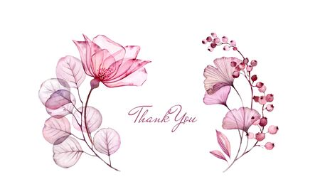 Watercolor Transparent Rose floral thank you card. Purple eucalyptus branch, flowers and berries isolated on white. Botanical illustration for stationery design