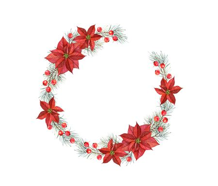 Christmas watercolor wreath. Hand painted illustration with pine tree, red berries and poinsettia. Winter holiday background isolated on white for greeting card and wrapping paper