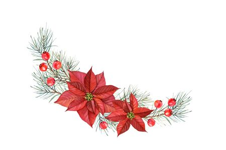 Watercolor arch arrangement of Christmas Stars. Hand painted illustration with poinsettia flowers, pine tree, red berries. Winter holiday wreath isolated on white for greeting card and festive decor