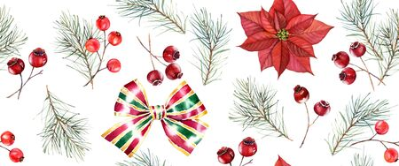 Christmas watercolor seamless pattern. Hand painted illustration with pine tree, red berries, bows and poinsettia. Winter holiday background isolated on white for greeting card and wrapping paper