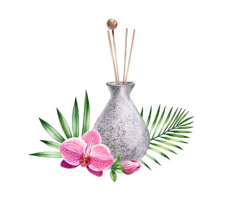 Watercolor refresher with orchid flowers. Vase with wooden sticks. Interior decotation of grey stone. Realistic illustration isolated on white background for SPA and wellness centres Banco de Imagens