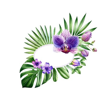 Watercolor floral banner. Oval frame with place for text. Big purple orchid flower and monstera leaves. Hand painted tropical background for cards. Botanical illustrations isolated on white