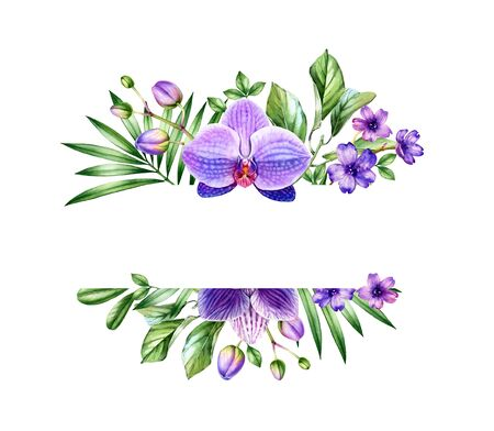 Watercolor floral banner. Horizontal frame with place for text. Big purple orchid flower and palm leaves. Hand painted tropical background and cards. Botanical illustrations isolated on white 스톡 콘텐츠