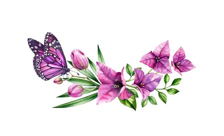 Watercolor bougainvillea bouquet with butterfly. Purple flowers, violet monarch and palm leaves. Hand painted floral tropical wreath. Botanical illustrations isolated on white.