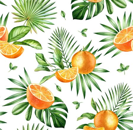 Watercolor tropical seamless pattern. Whole and sliced orange fruits. Exotic plants and palm leaves isolated on white. Botanical illustration for surface, textile, wallpaper summer design