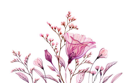 Watercolor floral composition. Hand painted artwork with transparent bellflower and branches in blossom. Abstract botanical illustration for cards, wedding design Stock Photo