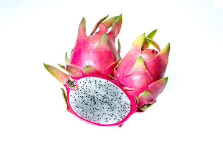 cut Dragon fruit on white cackground - isolated photo