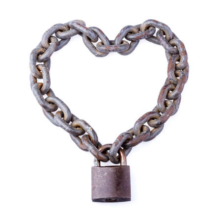 chain and padlock on white background photo