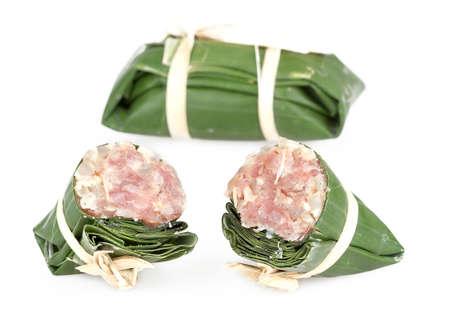 food preservation: pickled pork sausage - traditional Thai food preservation on white background