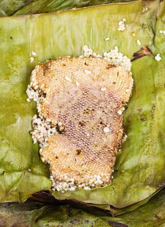 immature: roasted immature beehive on banana leaves - Thai expensive traditional food