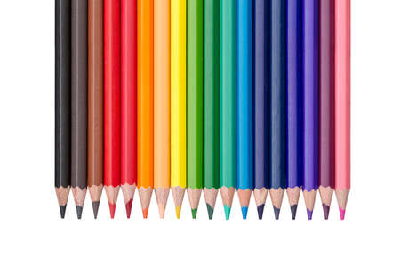 gradation art: single row of colored pencils isolated on white background