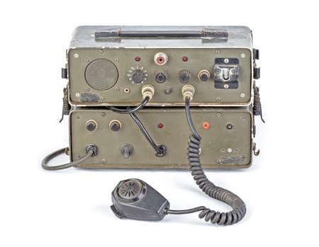 amateur: vieja radio aficionado jam�n verde oscuro sobre fondo blanco Foto de archivo