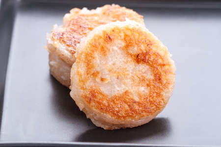 thai culture: Thai dessert coconut macaroon (Ba Bin in Thai made from coconut, sugar, flour, salt)