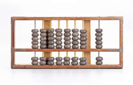 calculator chinese: Antique wooden abacus on white background