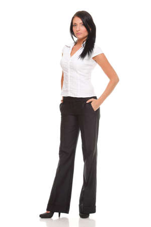 full lenght: Portrait of a happy young business woman standing full lenght white background Stock Photo
