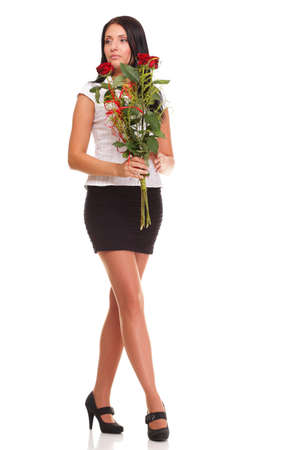 Beautiful young girl posing with a red rose woman isolated on white background photo
