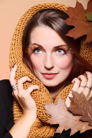 Autumn woman in fashion female, fresh girl glamour eye-lashes oak leaf Stock Photo