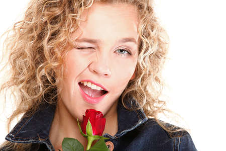 portrait of attractive caucasian smiling woman blond isolated on white studio shot in red rose Stock Photo - 15848928