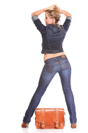 Beautiful young woman blonde 20s standing full body in jeans shoulder bag isolated on white background Caucasian girl Stock Photo - 15896368