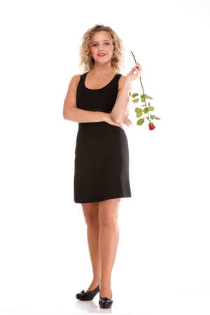 portrait of attractive caucasian smiling woman blond isolated on white red rose Stock Photo - 15896537