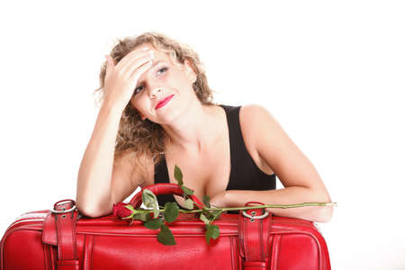 portrait of attractive caucasian woman blond wait red rose Stock Photo - 16335044