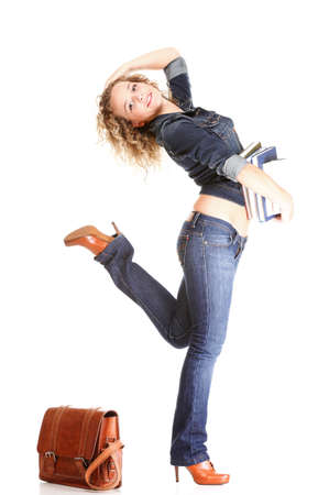 Beautiful young woman blonde 20s standing full body in jeans shoulder bag isolated on white background Caucasian girl Stock Photo - 16405821