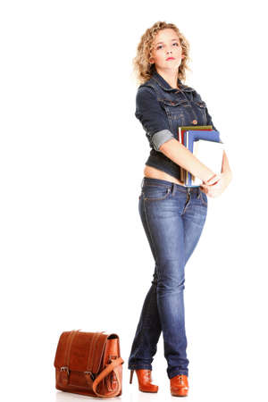 Beautiful young woman blonde 20s standing full body in jeans shoulder bag isolated on white background Caucasian girl Stock Photo - 16637491