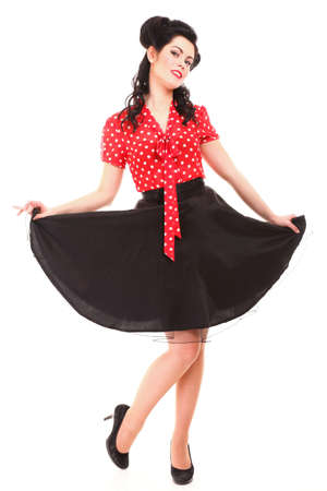 american sexy: style Sexy Patriotic American Girl pin-up retro woman isolated