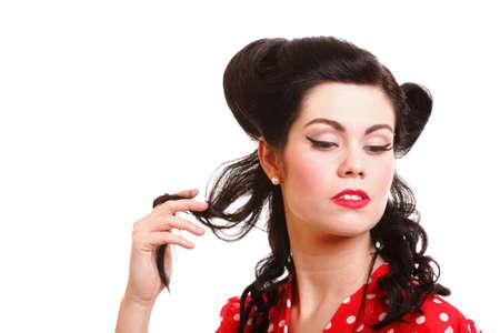 pinup girl: Pin-up girl American style retro woman Stock Photo