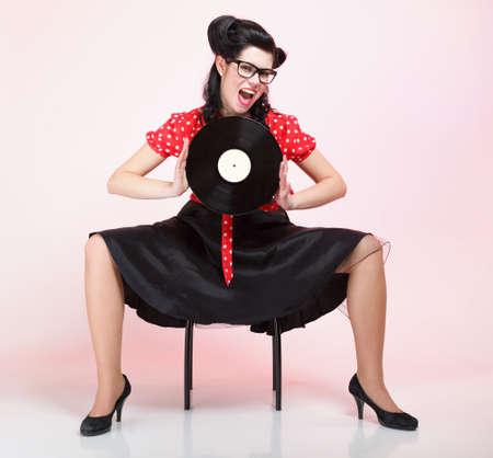 pinup girl: Pin-up girl style retro woman analogue record