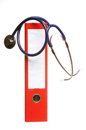 Blue stethoscope and red binder isolated on white Stock Photo - 17438972