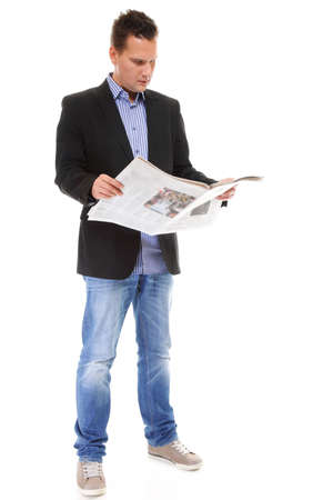 bad news: Businessman reading a newspaper isolated