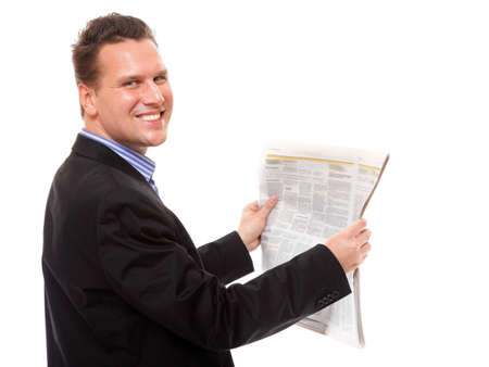 Businessman reading a newspaper isolated photo