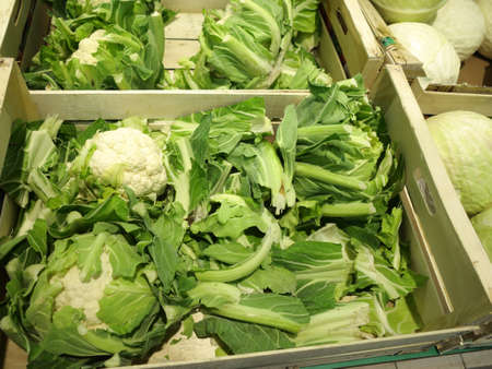 Fresh cauliflowers on the market stand cabbage vegetable photo