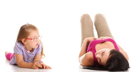 litle: happy family, litle baby girl lying mom Stock Photo