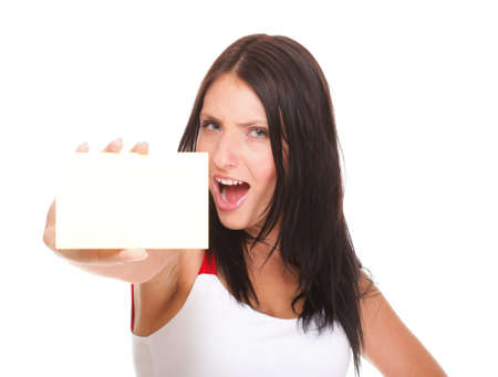 Gift card. Excited woman showing empty blank paper card sign female model isolated photo