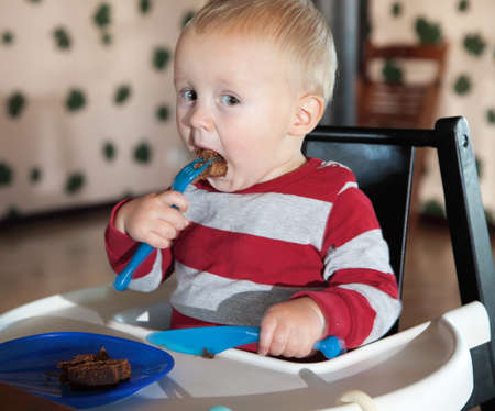 Little boy eating sweets indoor Stock Photo - 17786924