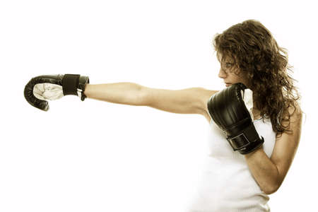 Boxer fit woman boxing - isolated over white background photo