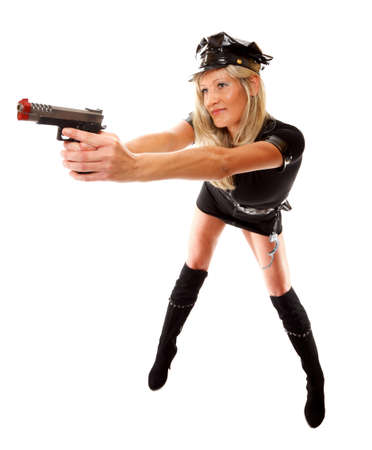 Full lehgth sexy blonde girl in police uniform with gun on a white backgraund Stock Photo - 18339303