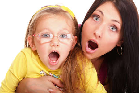 happy family Mom end daughter to be speechless with surprise isolated young screaming woman photo