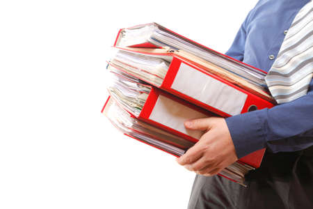 Man holding stack of folders. Pile with old documents and bills. Isolated on white background photo
